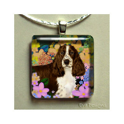 Brown English Springer Spaniel Dog Necklace Jewelry Glass Tile Pendant Chain