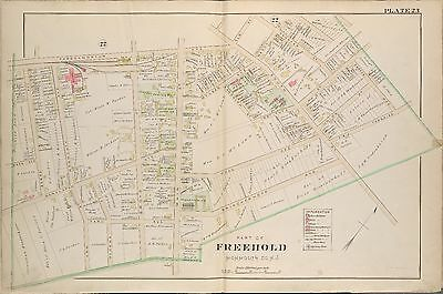 1889 Freehold, Monmouth County New Jersey St. Rose Of Lima Church Copy Atlas Map