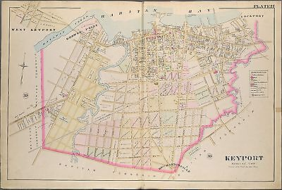 1889 Keyport, Browns Point Monmouth County New Jersey Raritan Cemetery Atlas Map