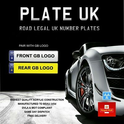 Car Reg Registration Plates licence plates GB Pair 100% compliant Road legal