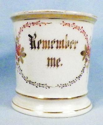 Antique Remember Me Mug Cup Porcelain Orange Flowers Gold Victorian As Is Cond