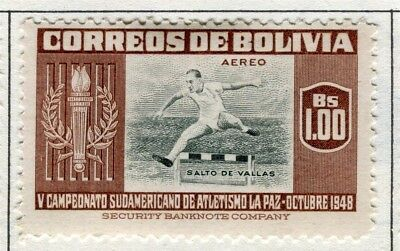 BOLIVIA;  1951 Air Sporting pictorial issue fine Mint hinged $1.0 value
