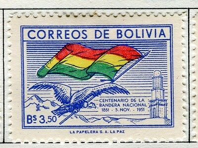 BOLIVIA;  1952 early ' Flag ' issue Mint hinged 3.50b. value