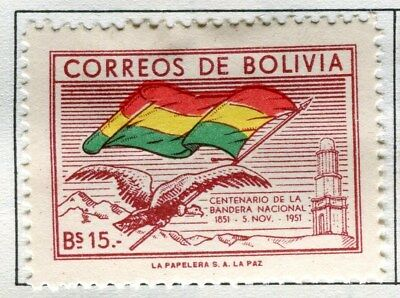 BOLIVIA;  1952 early ' Flag ' issue Mint hinged 15b. value