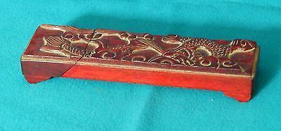 Vintage Chinese Chopsticks in Carved Rosewood Hinged Box with Carved Dragon