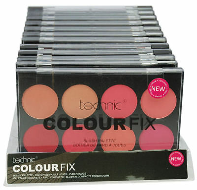 Technic Colour Fix Blusher Palette - Conceal Flawless Face Cheeks Pinks Reds