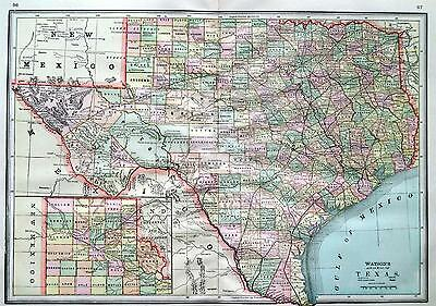 1891 Texas Large Original 2-page Color Atlas Map .. Indian Territory & Ark. back