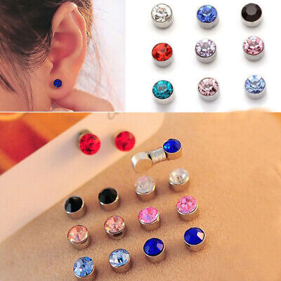 0aa8d765f 12 Pairs Non Piercing Clip on Crystal Magnetic Magnet Ear Stud Unisex  Earrings