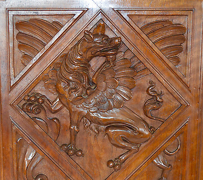 French Antique Carved Salvaged Wood Door Panel - Victorian Griffin Chimera