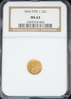 1854 G$1 Gold Liberty Head Dollar Type 1  Ngc Ms 63