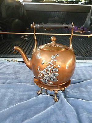 Large Gorham Mixed Metal Japanese Aesthetic Movement Tea Kettle W Stand