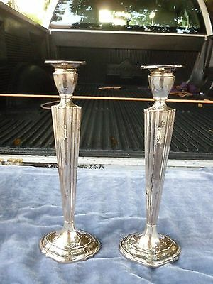 Pair Of Vintage Weighted Sterling Silver Whiting Single Candlesticks W Monogram