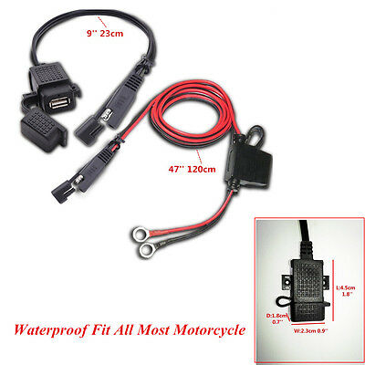 Motorcycle Waterproof SAE to USB 2.1A Cable Adapter USB Charger Kit Inline Fuse