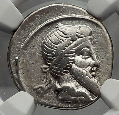 Roman Republic 90BC PRIAPUS Fertility God PEGASUS Ancient Silver Coin NGC i59808
