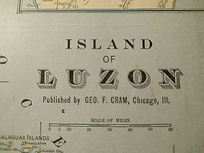 "PHILIPPINES LUZON Map 1902 Antique Original Crams 11""x14.5"" Vintage Old MAPZ182"