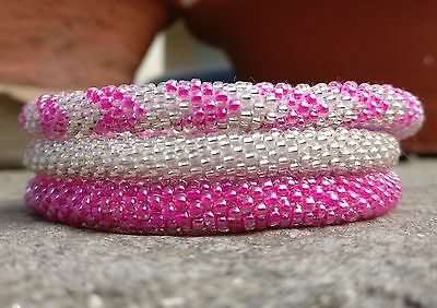 Neon Pink and Silver Crocheted Bracelets Set, Seed Beads,Handmade Nepal, roll on