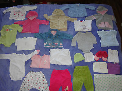 24 items of baby girl winter clothes size 00 (3-6 months) bulk