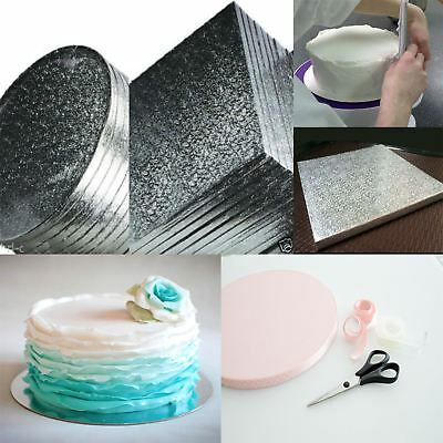 Wedding Birthday Cake Board Cards Silver Tray Strong Drum Base Thick Bakers Kit