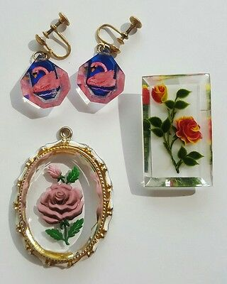 Vintage Floral Reverse Carved Lucite Brooch Pin Earrings Pendant Lot Estate