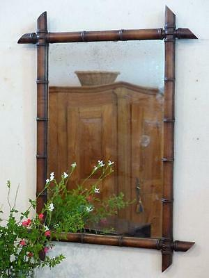 19th century French bamboo style mirror - antique French mirror