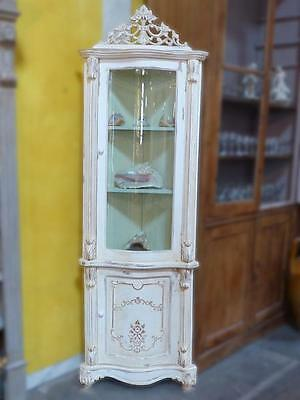 French antique corner cabinet with glass door and white patina