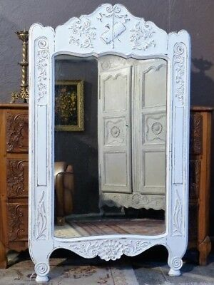 Louis XV style mirror with white patina - antique French mirror