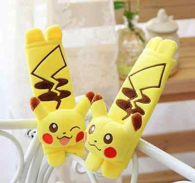 2Pcs Cute  Cartoon Pikachu Pet Elves  Auto Car Seat Belt Cover Shoulder Pads