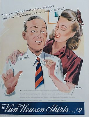 1941  PRINT AD VAN HEUSEN SHIRTS COLLAR ATTACHED art by Fenton husband & wife