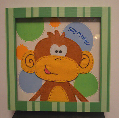 "SILLY MONKEY PICTURE-BABY NURSERY-WALL HANGING-MONKEY-10.25x10.25"" SQUARE-EUC"