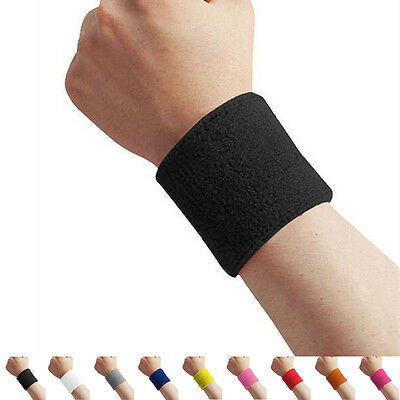 Unisex Cloth Cotton Sweatband Sports Wrist Tennis Yoga Sweat WristBand