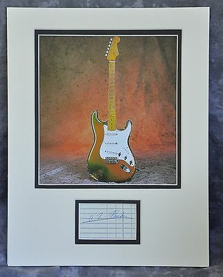 Leo Fender Signed Receipt Matted With 1954 Eldon Shamblin Strat Picture