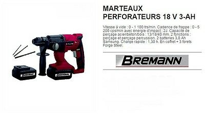 perforateur sans fil - 2  batteries Lithium ions 18V /3 AH +3 forets SDS PLUS