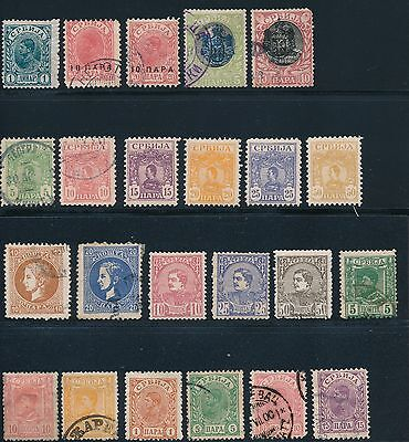 1869-1903 Serbia (23) EARLY ISSUES; MH & Used; ALL DIFFERENT, CV $40+
