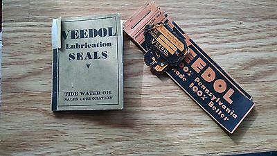 Lot 13 VEEDOL Oil Change WINDSHIELD or DASH GLASS STICKERS old rare 12 AND 1