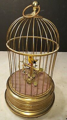Antique German Animated Whistling Bird Cage Music Box-Works!