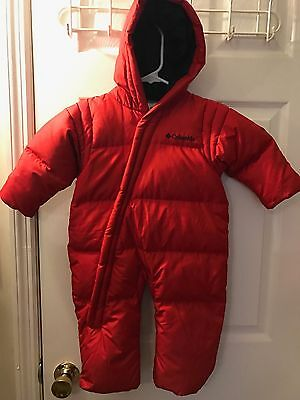New COLUMBIA Bunting Snowsuit Red Hooded Down Puffer Sz 18 Months Infant NWOT
