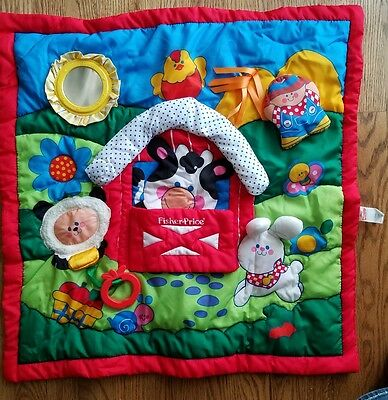 1993 Fisher Price Vintage Activity Tummy Time Play Mat Quilt Baby Blanket Farm