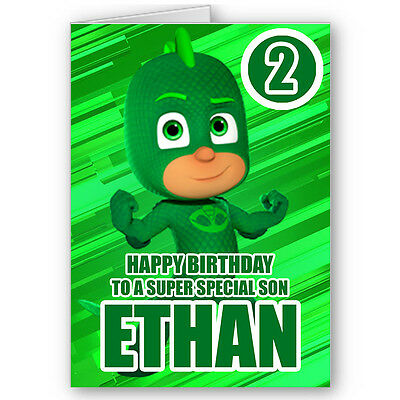 PERSONALISED PJ MASKS GEKKO CHILDRENS BIRTHDAY CARD - Any Name/Age BC057