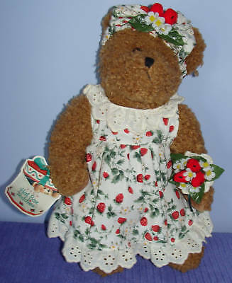 "Avon Hat Box Teddies Bear Strawberrie W/tags 12"" - Aa"