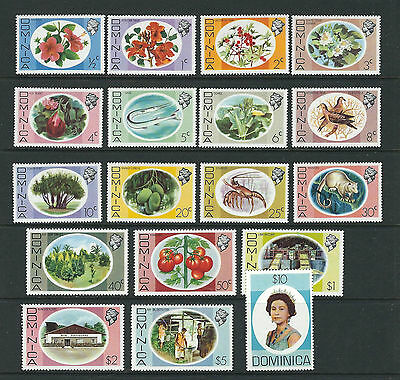 DOMINICA 1975 QEII FLOWERS ANIMALS etc long set (Scitt 454-71) VF MLH/MNH