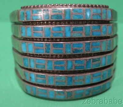 Vintage Zuni Silver Turquoise Inlay Cuff Bracelet