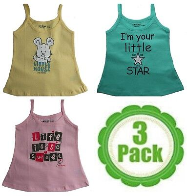 Baby Singlets Multi Cute Print - Size 000,00,0,1,2,3 - 100% Cotton - Pack of 3
