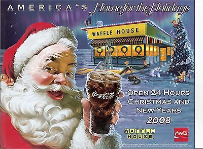 2008 Waffle House Coca Cola Santa elf PICTURE COKE  HOLIDAY WINDOW ADVERTISEMENT