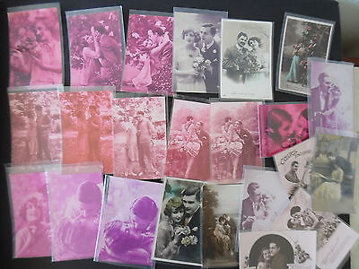 Lot of 23 European RP Romance Greeting Postcards 1920s-40s