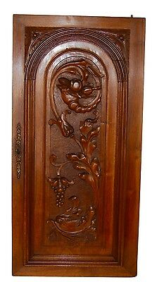 French 19th.C Architectural Neoclassical Dolphin Carved Wood Cupboard Door Panel