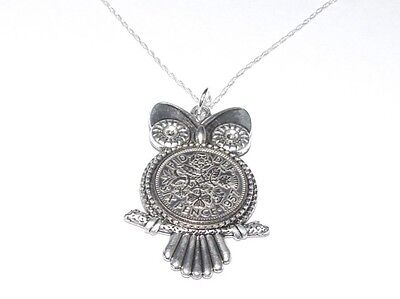 1957 Sixpence Owl Pendant for 61st Birthday Gift boxed