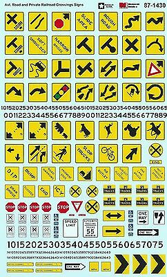 HO 1/87 Microscale 87-1430 Asst. Road & Private RR Crossing Signs Decals