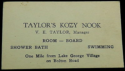 TAYLOR'S KOZY NOOK Lake George New York V E TAYLOR Manager