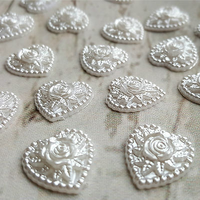 10x 16mm White Pearl Floral Hearts Toppers. Stick on Gems, Wedding Invites Card
