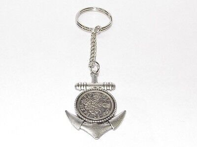 1955 Sixpence Anchor Keyring for 63rd Birthday Gift boxed